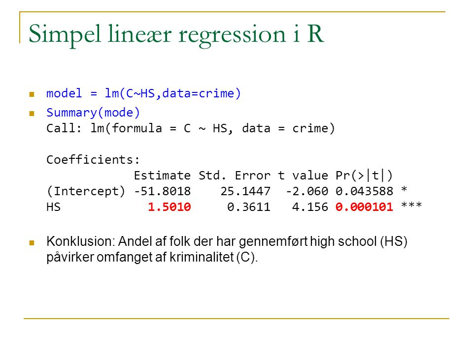 Simpel lineær regression i R