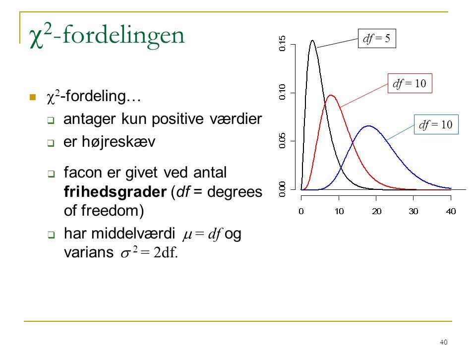 c2-fordelingen c2-fordeling… antager kun positive værdier er højreskæv