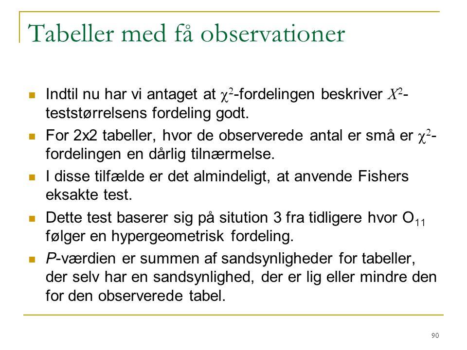 Tabeller med få observationer