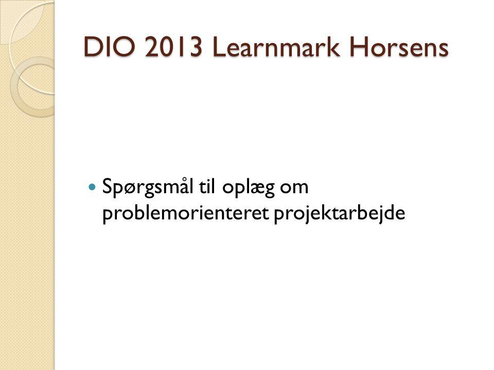 DIO 2013 Learnmark Horsens Spørgsmål til oplæg om problemorienteret projektarbejde