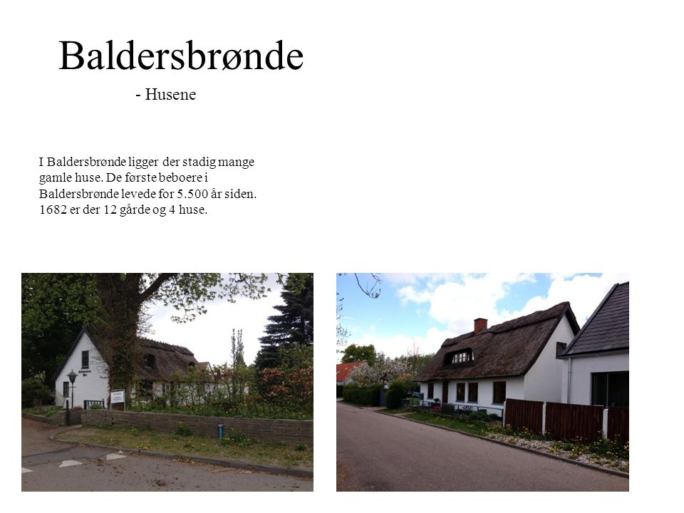 Baldersbrønde - Husene