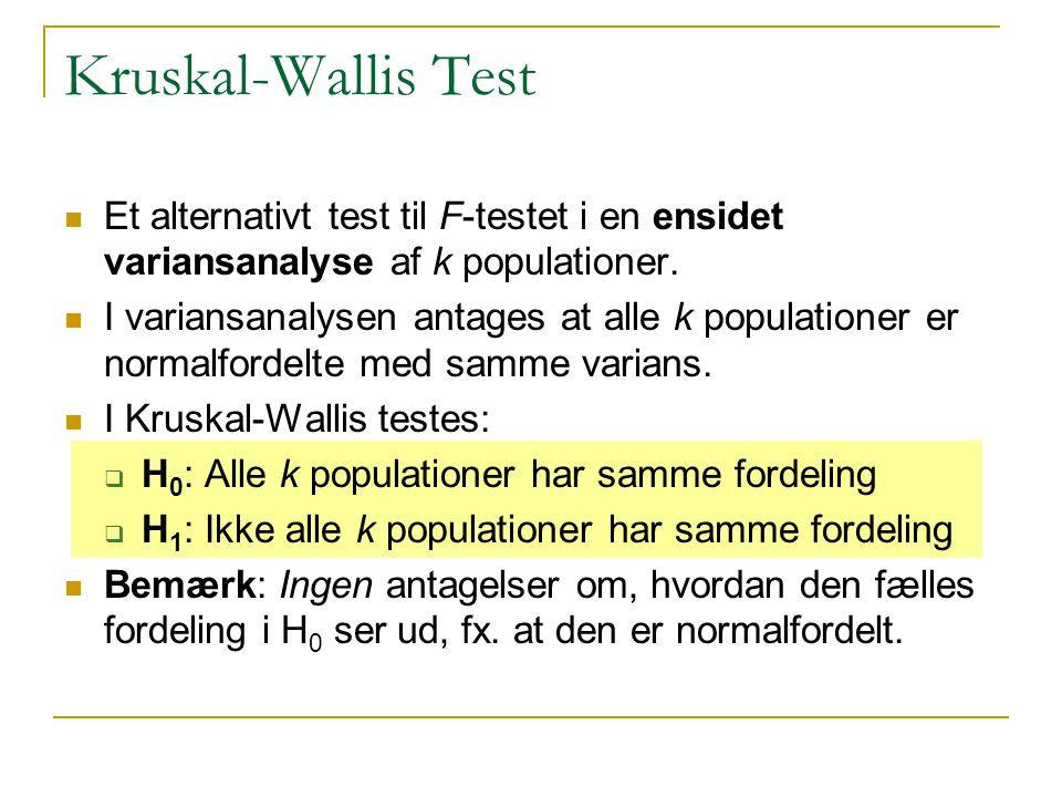 Kruskal-Wallis Test Et alternativt test til F-testet i en ensidet variansanalyse af k populationer.