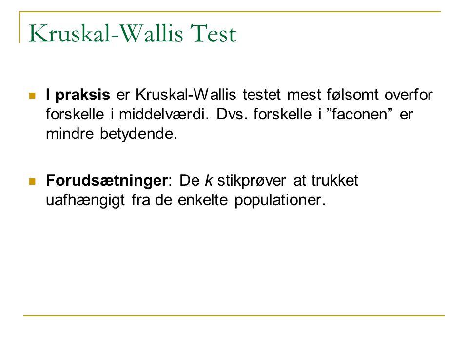 Kruskal-Wallis Test I praksis er Kruskal-Wallis testet mest følsomt overfor forskelle i middelværdi. Dvs. forskelle i faconen er mindre betydende.
