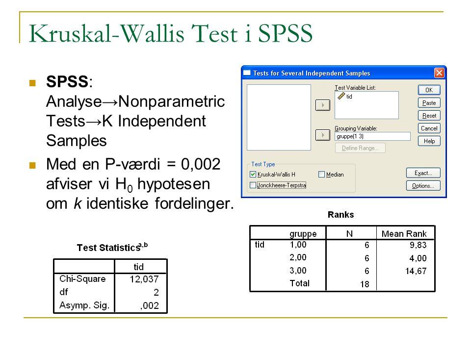 Kruskal-Wallis Test i SPSS