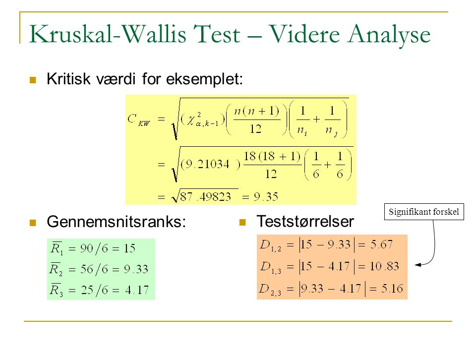 Kruskal-Wallis Test – Videre Analyse