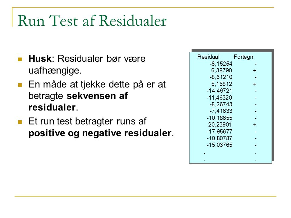 Run Test af Residualer Husk: Residualer bør være uafhængige.