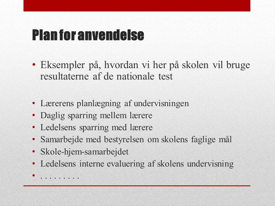 Plan for anvendelse Eksempler på, hvordan vi her på skolen vil bruge resultaterne af de nationale test.