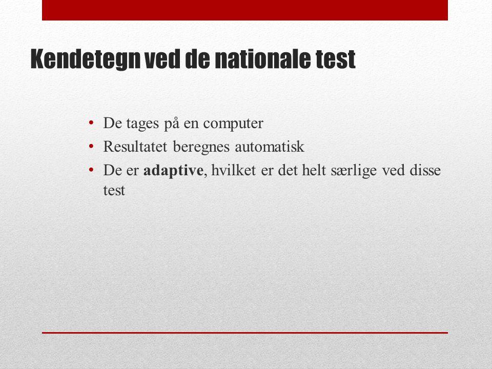 Kendetegn ved de nationale test