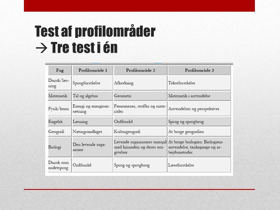 Test af profilområder  Tre test i én