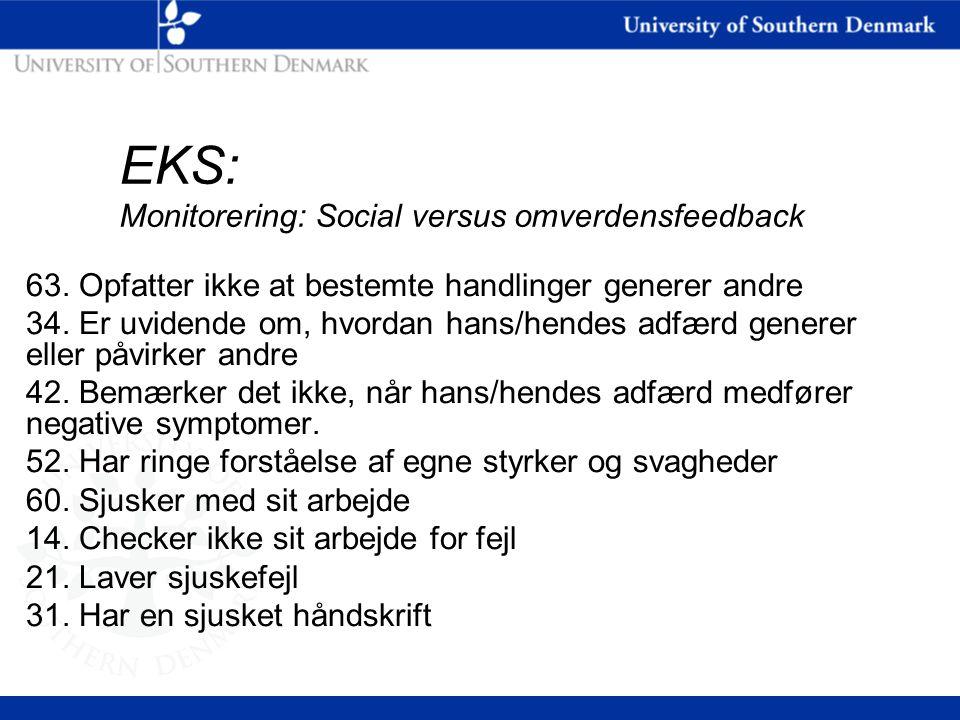 EKS: Monitorering: Social versus omverdensfeedback