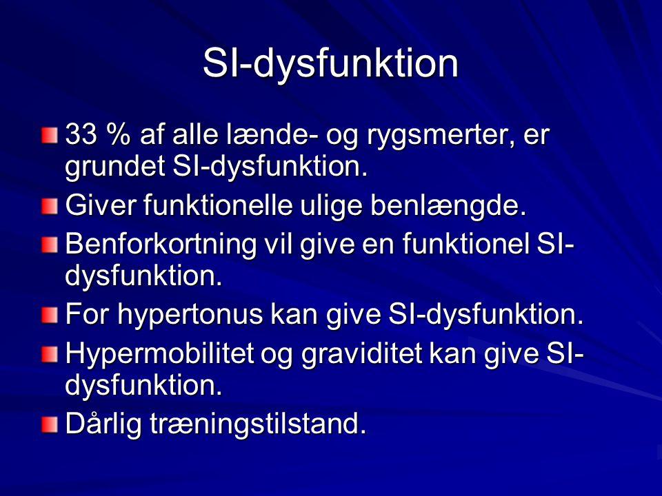 SI-dysfunktion 33 % af alle lænde- og rygsmerter, er grundet SI-dysfunktion. Giver funktionelle ulige benlængde.