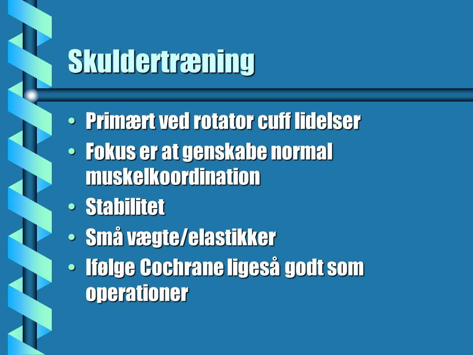 Skuldertræning Primært ved rotator cuff lidelser