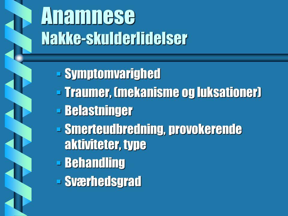 Anamnese Nakke-skulderlidelser