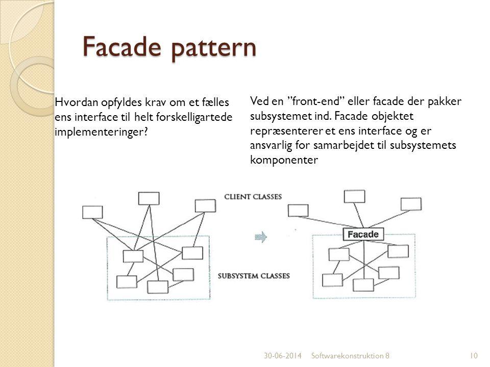 Facade pattern Hvordan opfyldes krav om et fælles ens interface til helt forskelligartede implementeringer