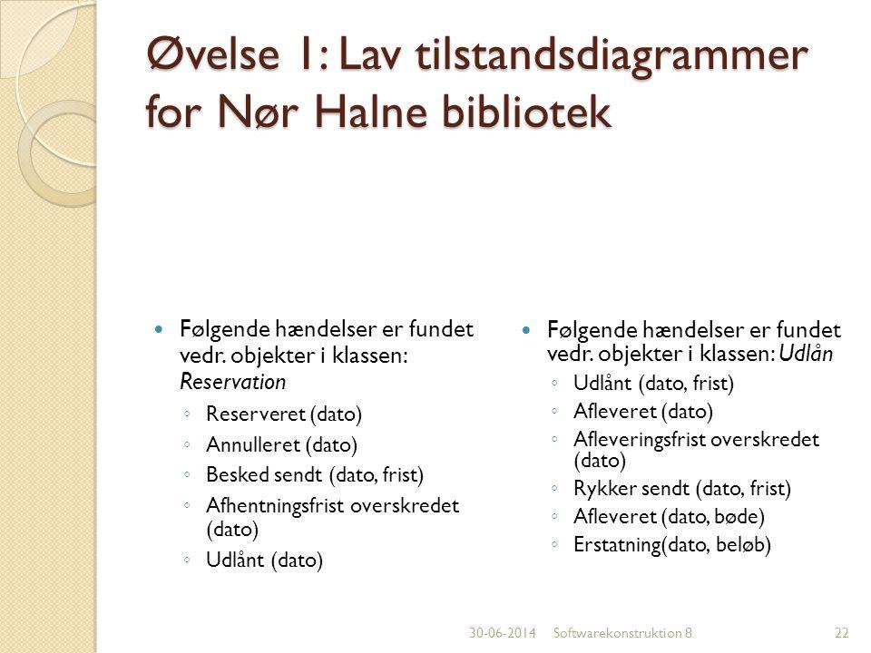 Øvelse 1: Lav tilstandsdiagrammer for Nør Halne bibliotek