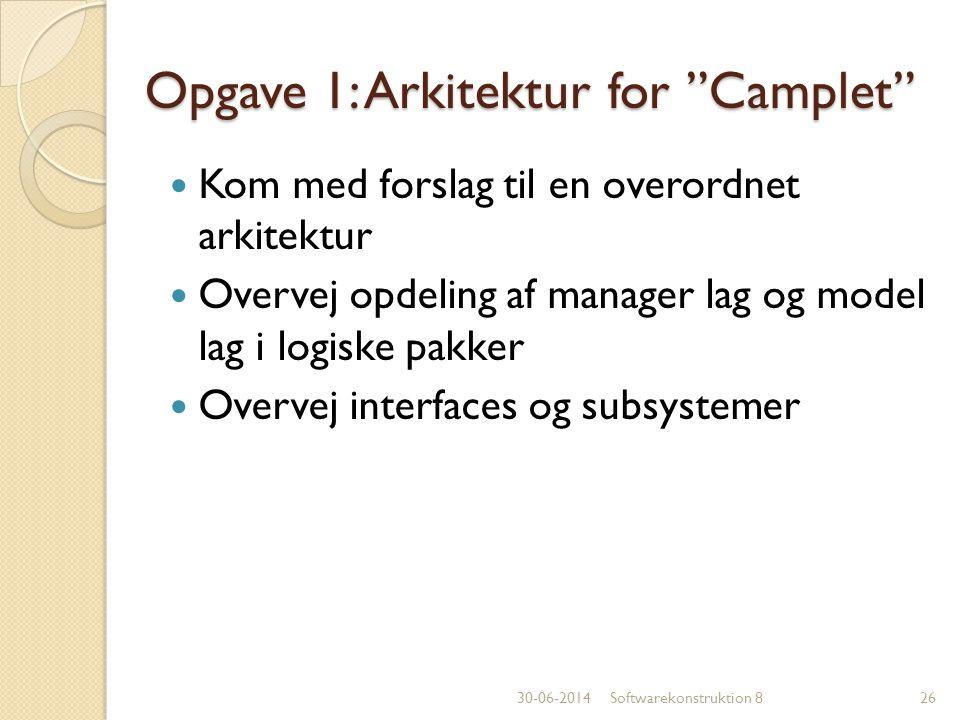 Opgave 1: Arkitektur for Camplet