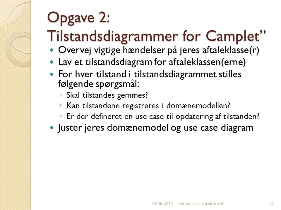 Opgave 2: Tilstandsdiagrammer for Camplet