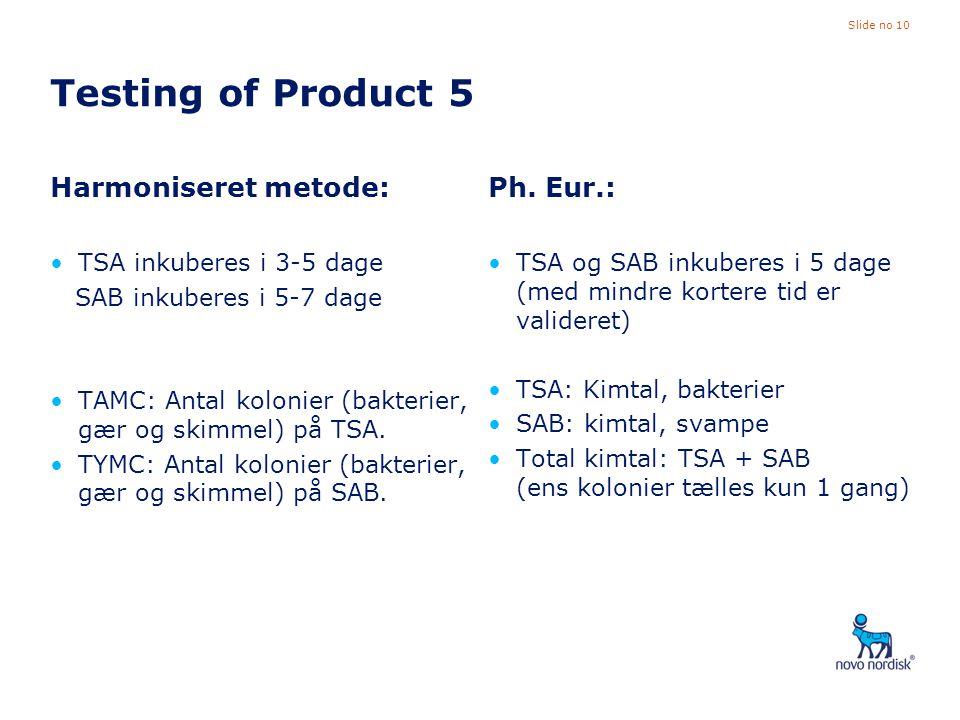 Testing of Product 5 Harmoniseret metode: Ph. Eur.:
