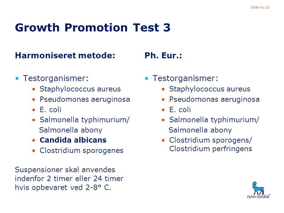 Growth Promotion Test 3 Harmoniseret metode: Testorganismer: Ph. Eur.: