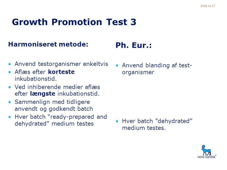 Growth Promotion Test 3 Ph. Eur.: Harmoniseret metode: