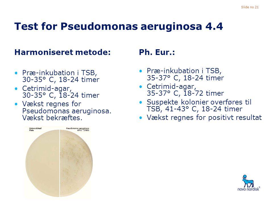 Test for Pseudomonas aeruginosa 4.4