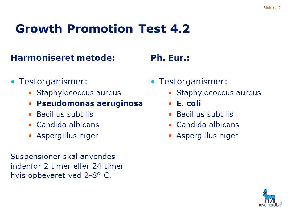Growth Promotion Test 4.2 Harmoniseret metode: Testorganismer: