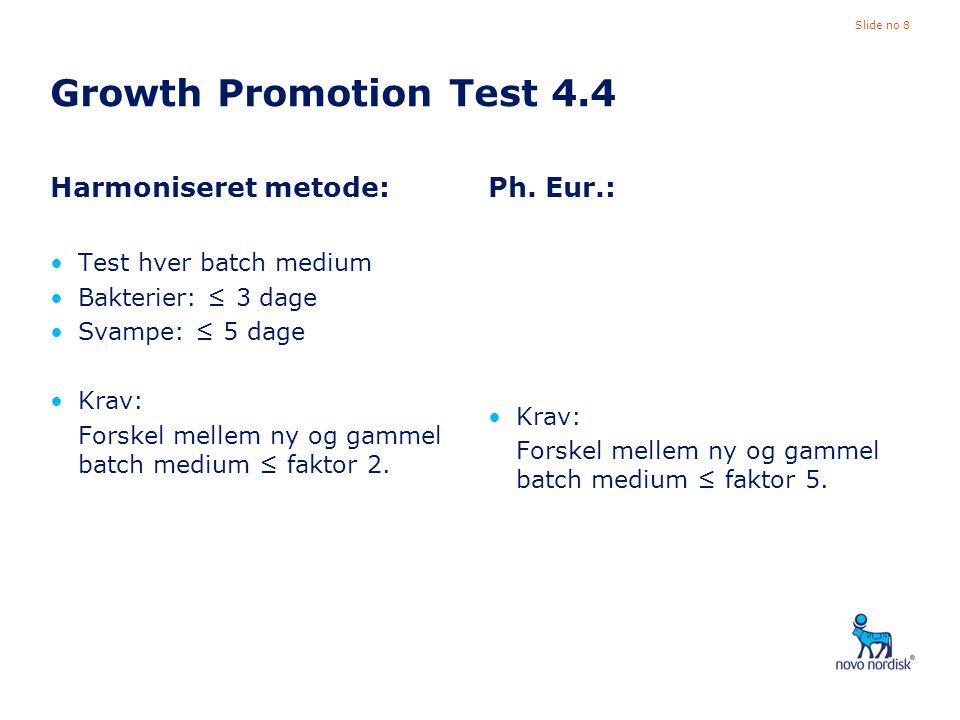 Growth Promotion Test 4.4 Harmoniseret metode: Ph. Eur.: