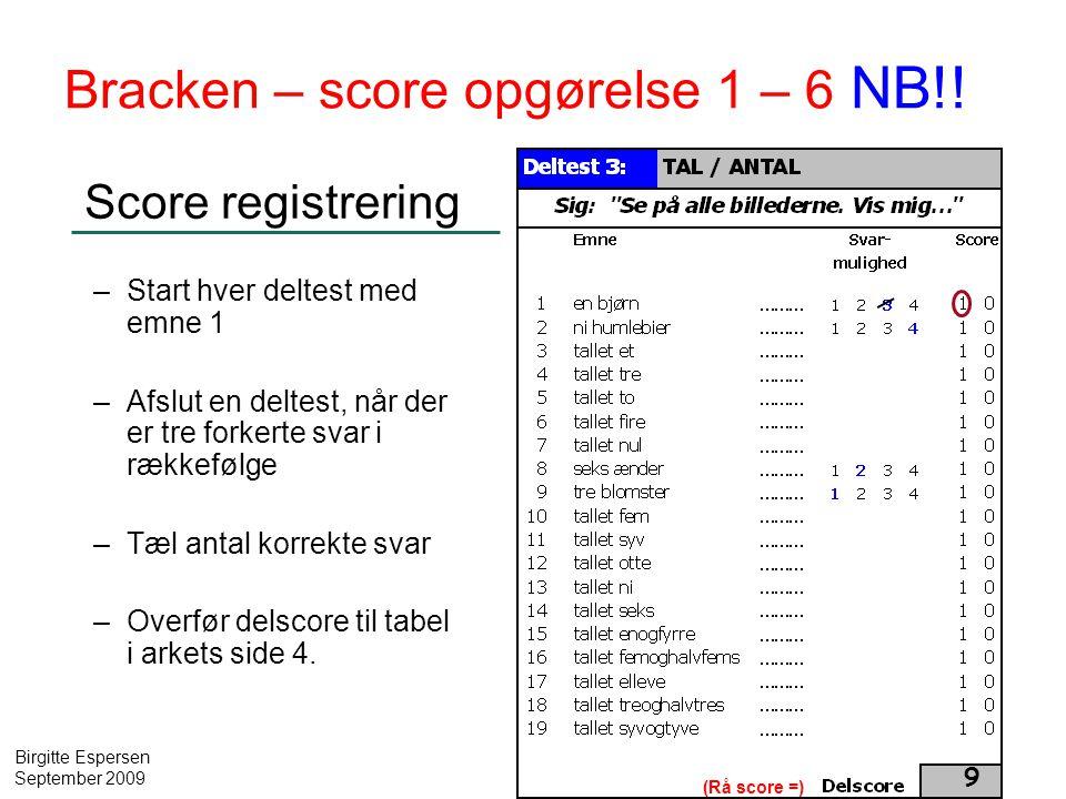 Bracken – score opgørelse 1 – 6 NB!!
