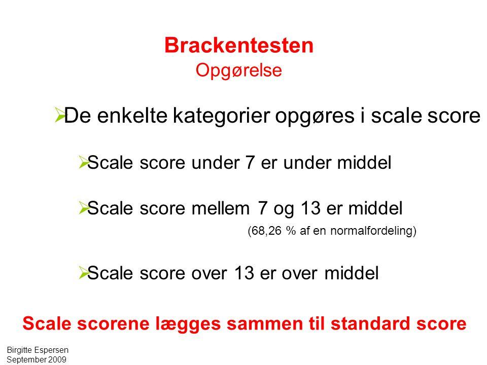 De enkelte kategorier opgøres i scale score