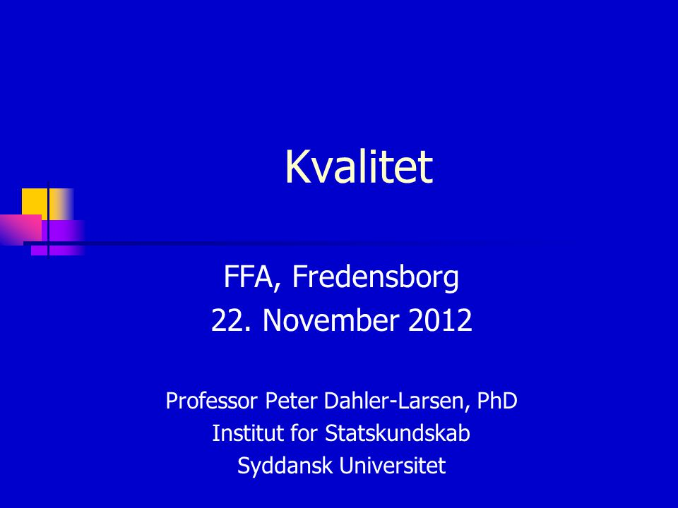 Kvalitet FFA, Fredensborg 22. November 2012