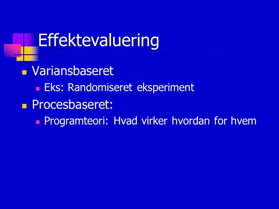 Effektevaluering Variansbaseret Procesbaseret: