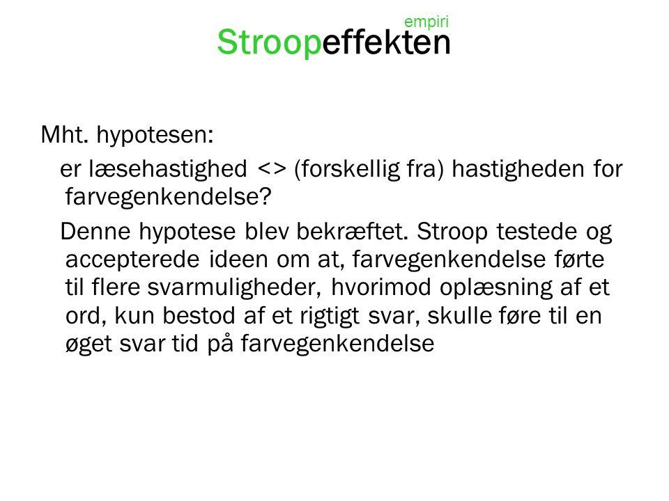 Stroopeffekten Mht. hypotesen: