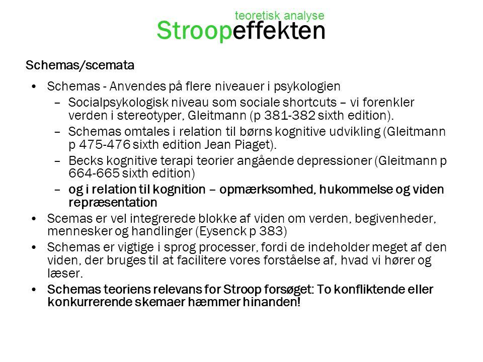 Stroopeffekten Schemas/scemata