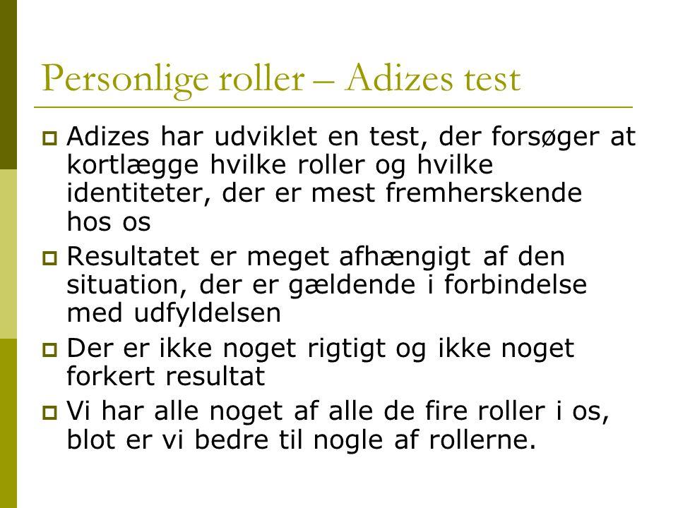 Personlige roller – Adizes test