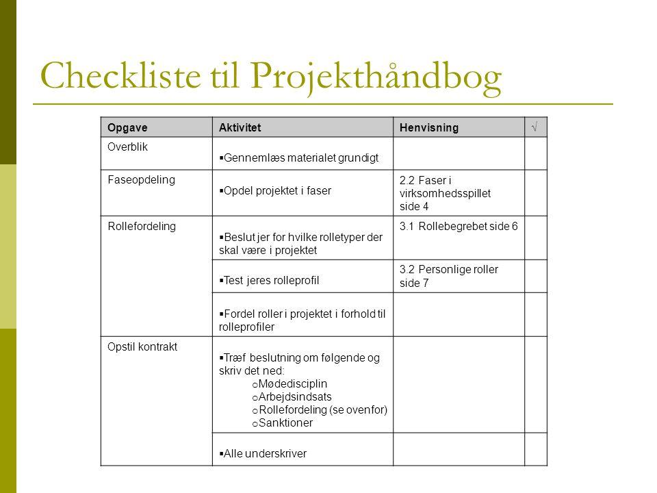 Checkliste til Projekthåndbog