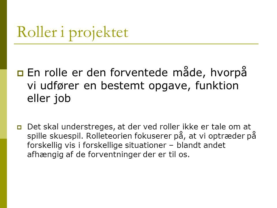 Roller i projektet En rolle er den forventede måde, hvorpå vi udfører en bestemt opgave, funktion eller job.