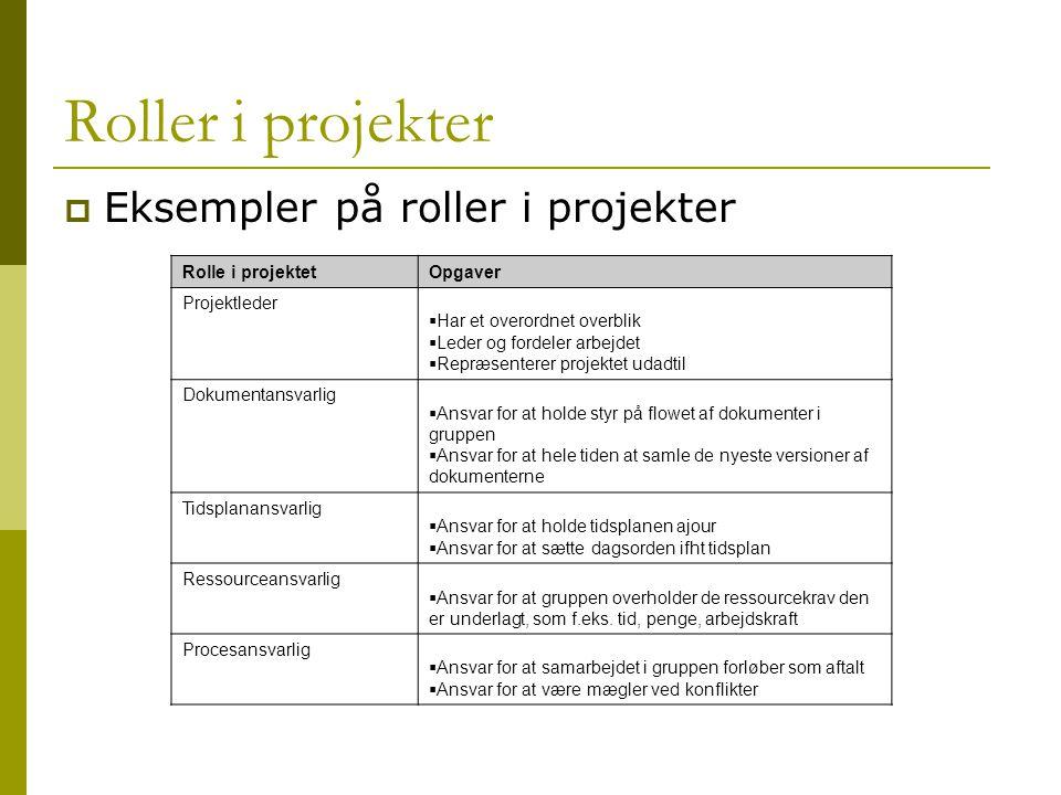 Roller i projekter Eksempler på roller i projekter Rolle i projektet