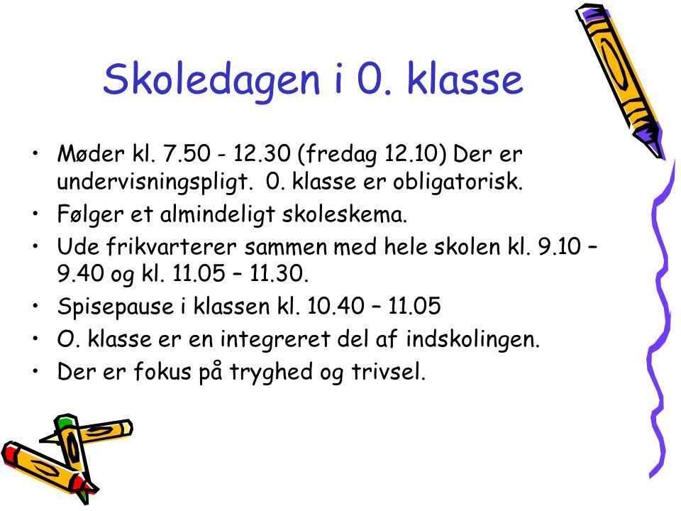 Skoledagen i 0. klasse Møder kl. 7.50 - 12.30 (fredag 12.10) Der er undervisningspligt. 0. klasse er obligatorisk.