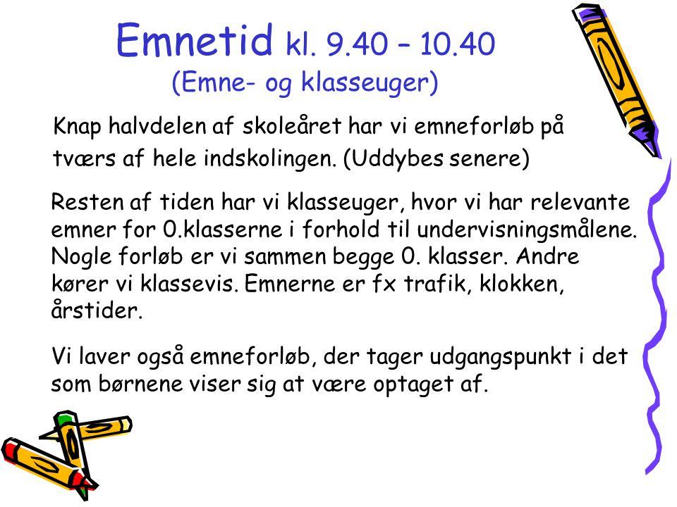 Emnetid kl. 9.40 – 10.40 (Emne- og klasseuger)