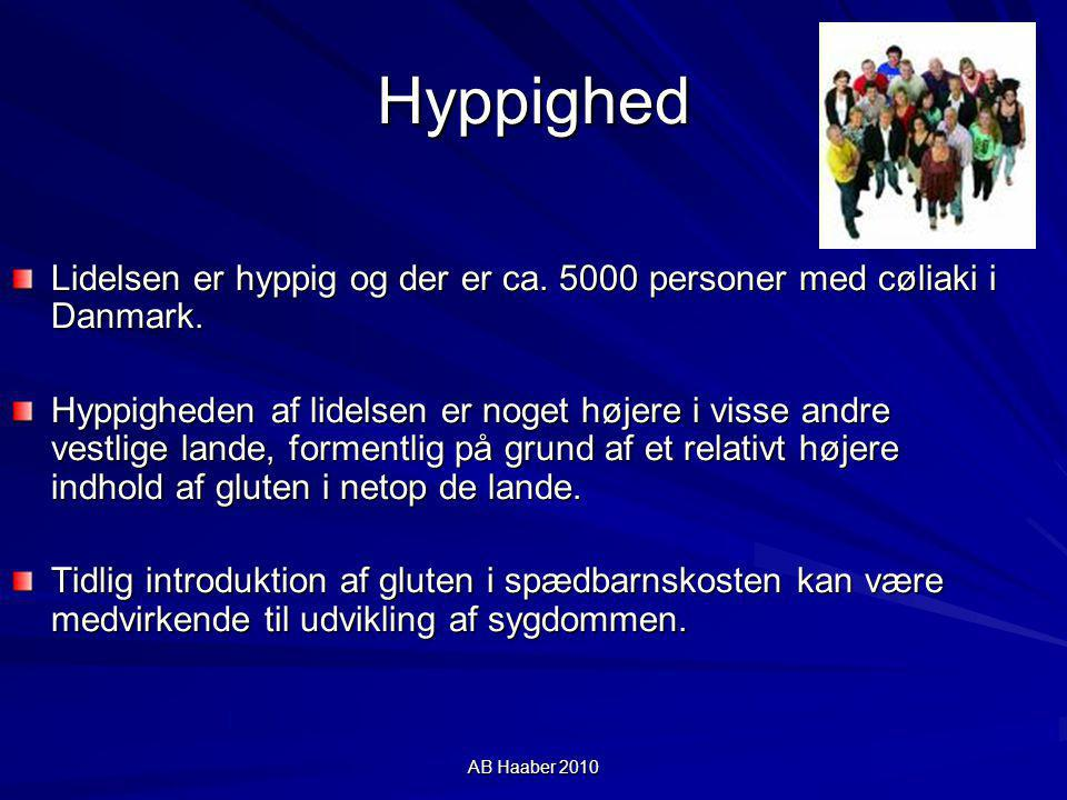 Hyppighed Lidelsen er hyppig og der er ca. 5000 personer med cøliaki i Danmark.