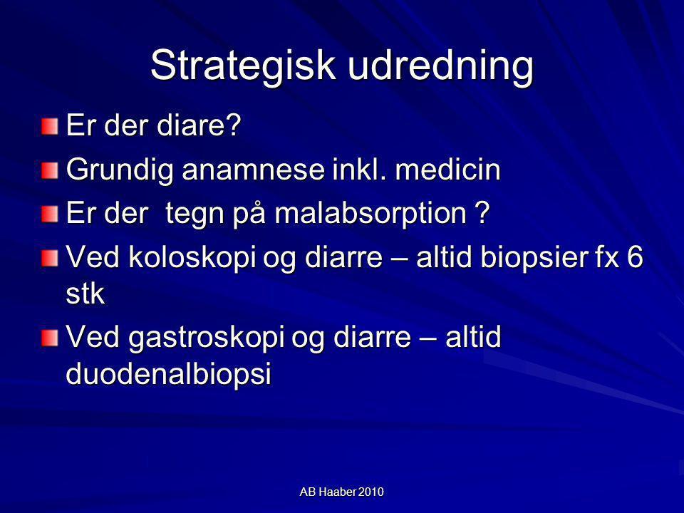Strategisk udredning Er der diare Grundig anamnese inkl. medicin