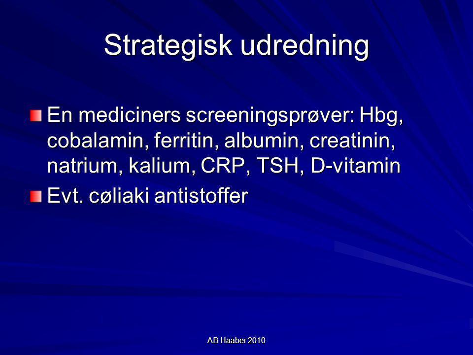 Strategisk udredning En mediciners screeningsprøver: Hbg, cobalamin, ferritin, albumin, creatinin, natrium, kalium, CRP, TSH, D-vitamin.
