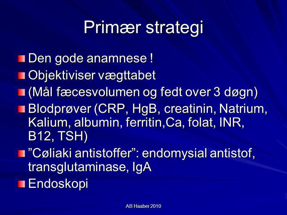 Primær strategi Den gode anamnese ! Objektiviser vægttabet