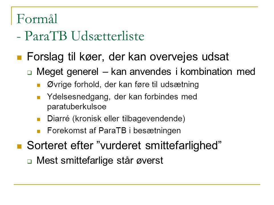 Formål - ParaTB Udsætterliste