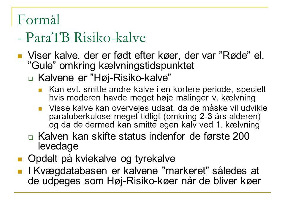 Formål - ParaTB Risiko-kalve