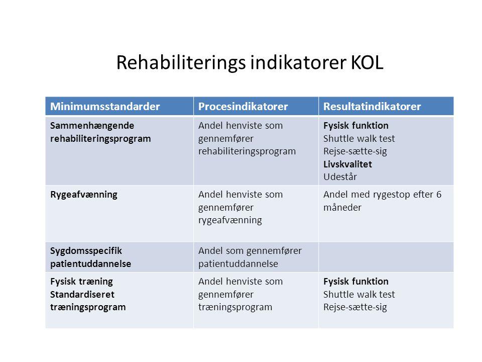 Rehabiliterings indikatorer KOL