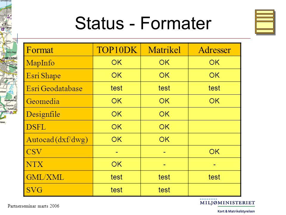 Status - Formater Format TOP10DK Matrikel Adresser MapInfo Esri Shape