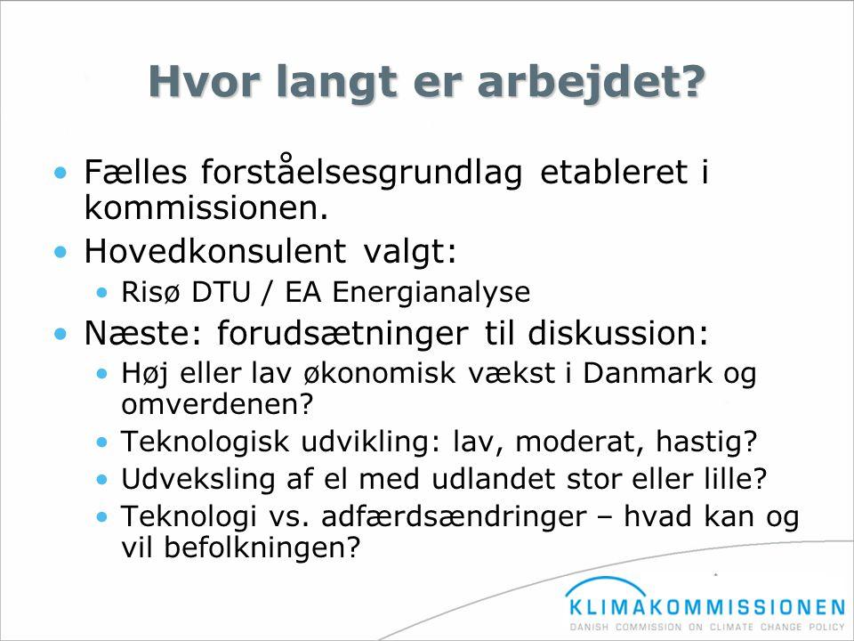 Hvor langt er arbejdet Fælles forståelsesgrundlag etableret i kommissionen. Hovedkonsulent valgt: