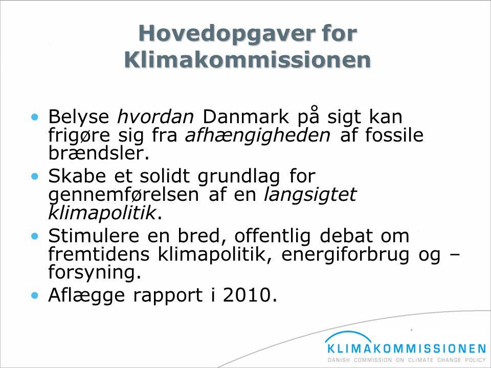 Hovedopgaver for Klimakommissionen