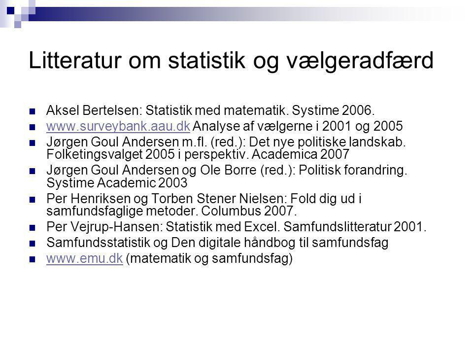 Litteratur om statistik og vælgeradfærd